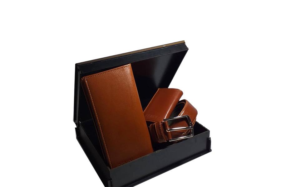 ست هدیه کیف و کمربند 3 تیکه چرم طبیعی مردانه کد 141