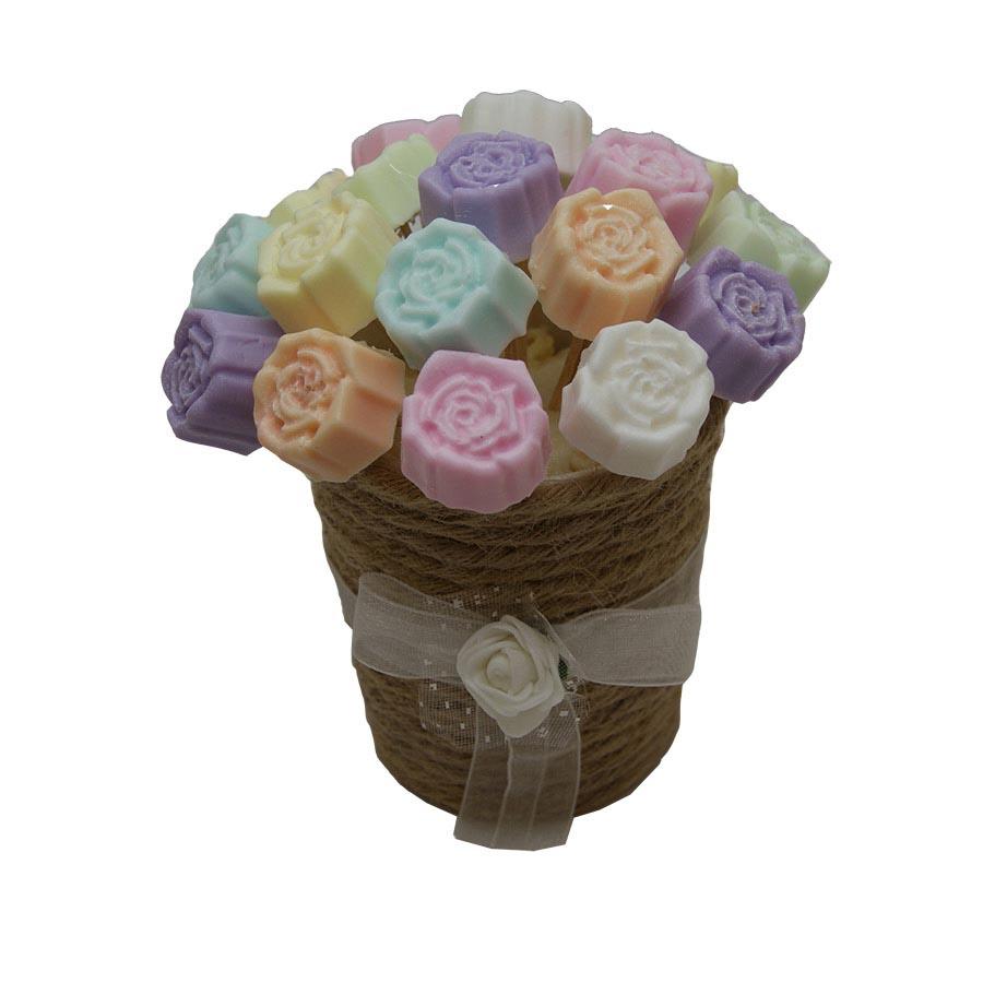 صابون دستساز گلدان  رز رنگی رنگی کد6