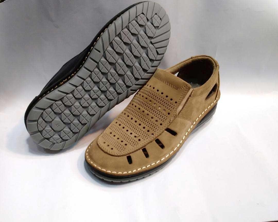 کفش تابستانی  طبی راحتی مردانه چرم طبیعی تبریز کد 389