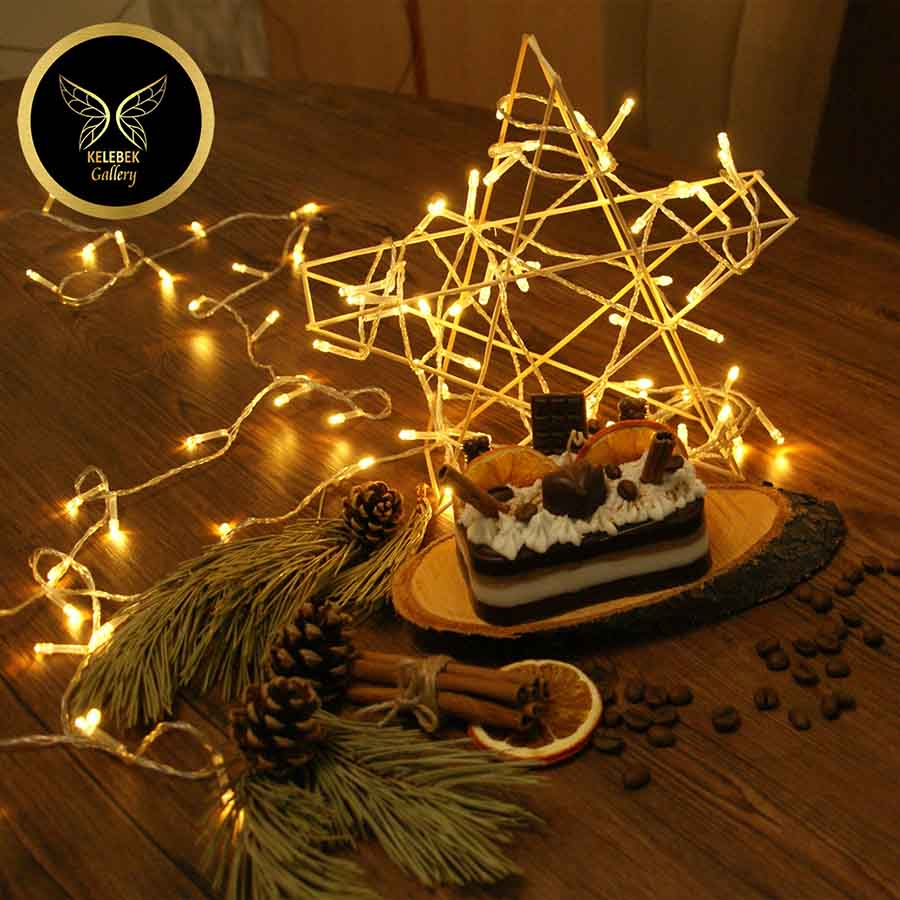 شمع دستساز تزئینی مدل کیک شکلاتی دارچین و پرتقال  کد 1