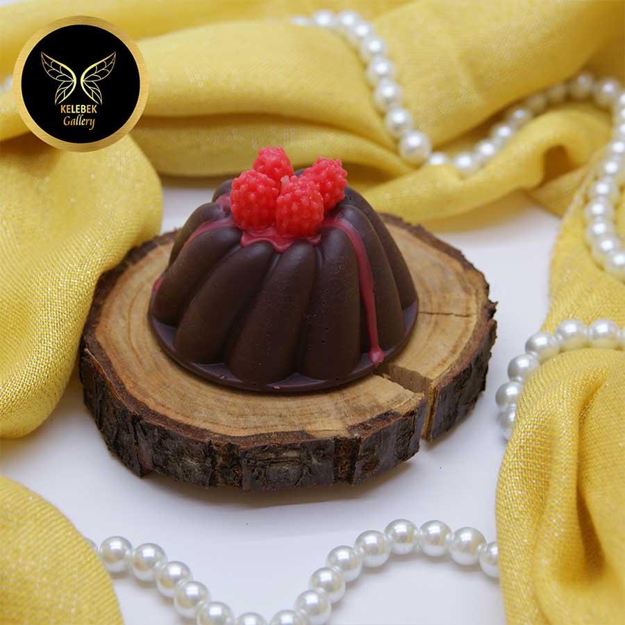 شمع دستساز تزئینی کیک شکلاتی تمشکی کد 4