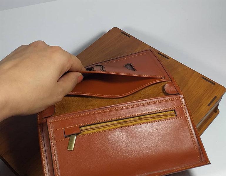 ست هدیه کیف و کمربند 3 تیکه چرم طبیعی مردانه کد 132