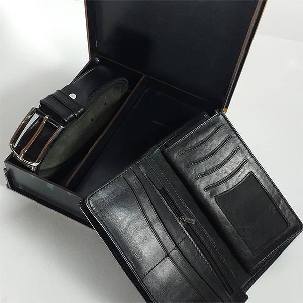 ست هدیه کیف و کمربند 2 تیکه چرم طبیعی مردانه کد 144