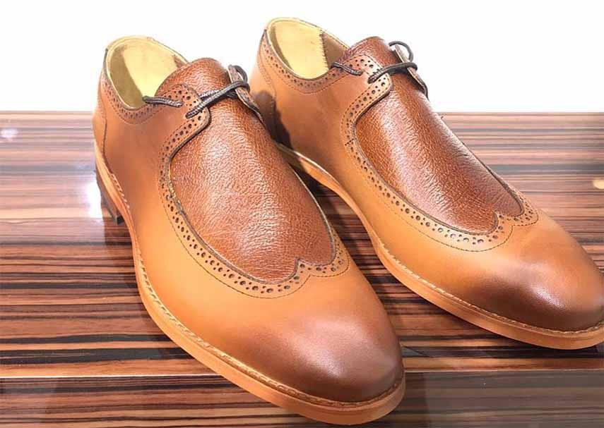 کفش چرم  طبیعی مجلسی مردانه دستدوز  تبریز کد106